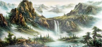 Rocky Mountains in Fog Chinese Landscape Oil Paintings