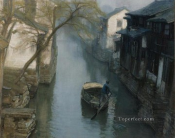 Spring Willows 1984 Shanshui Chinese Landscape Oil Paintings