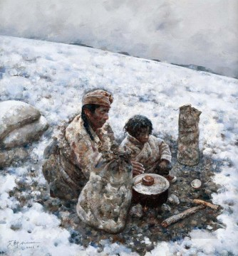 Tibetan Painting - Cooking in Tundra AX Tibet