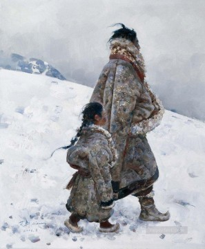 Father and Daughter AX Tibet Oil Paintings