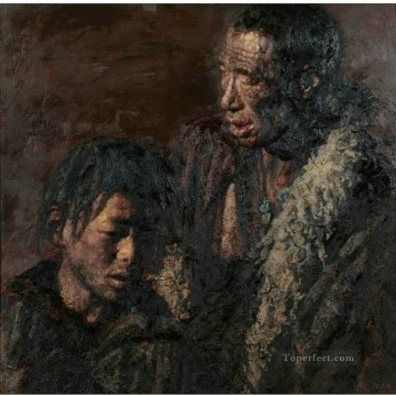 Chinese Painting - Father and Son Chen Yifei Tibet