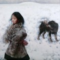 Girl and Dog AX Tibet