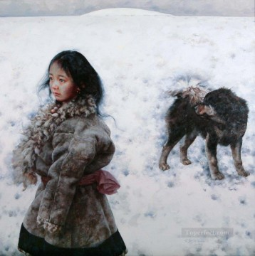 Chinese Painting - Girl and Dog AX Tibet