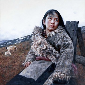 Chinese Painting - Shepherdess AX Tibet