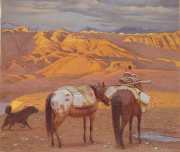 childhood 4 Tibetan Oil Paintings