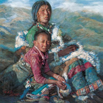 Tibetan Painting - Mother and Child 4 Chen Yifei Tibet