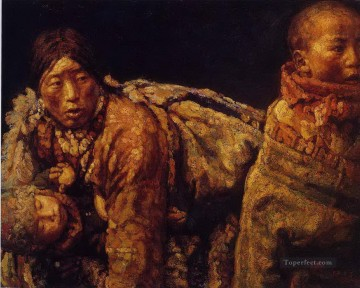 Chinese Painting - Mother and Kid Chen Yifei Tibet