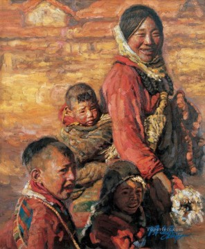 Chinese Painting - Mother and Children 2 Chen Yifei Tibet