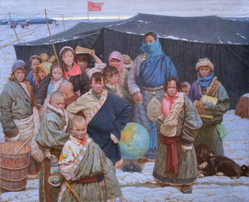 Chinese Painting - a market in Gahai Tibetan