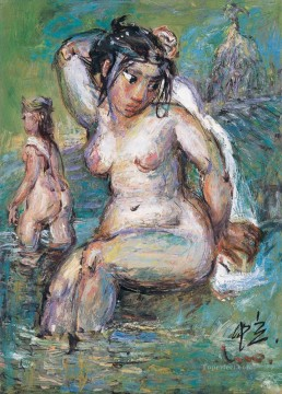 Chinese Painting - Bathing Women LZL from China