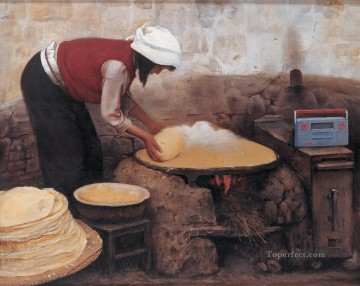 Chinese Painting - Girl Baking pancake WYD Chinese
