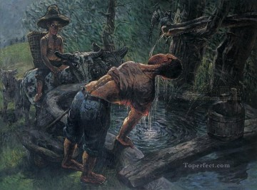 Chinese Painting - Farmer Drinking Water LZL from China