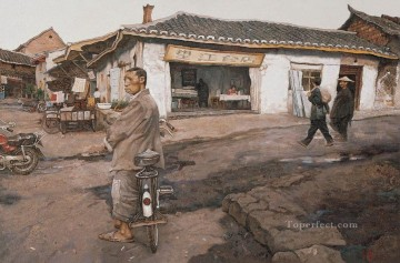 Chinese Painting - Street Crossing in Town from China