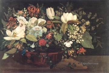 flower flowers floral Painting - Basket of Flowers Gustave Courbet floral