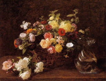 Basket of Flowers Henri Fantin Latour floral Oil Paintings