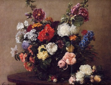Bouquet of Diverse Flowers Henri Fantin Latour floral Oil Paintings