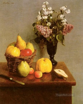 Fruit Painting - Still Life With Flowers And Fruit Henri Fantin Latour floral