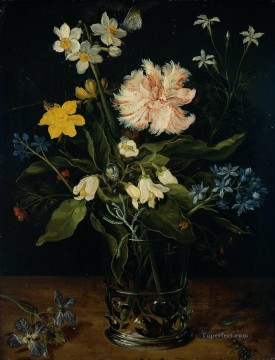 flower flowers floral Painting - Still Life with Flowers in a Glass Jan Brueghel the Elder floral
