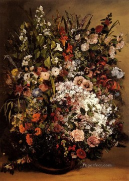 Bouquet Of Flowers In A Vase Gustave Courbet floral Oil Paintings