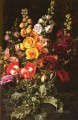 Danish Still Life Hollyhocks Johan Laurentz Jensen flower