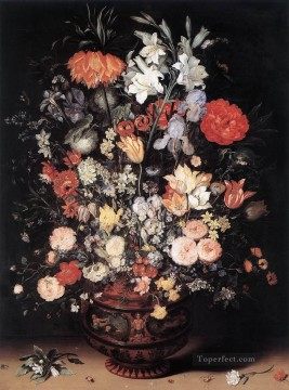 flower flowers floral Painting - Flowers In A Vase Jan Brueghel the Elder floral