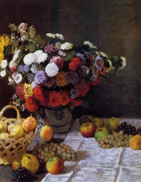 flower flowers floral Painting - Flowers and Fruit Claude Monet floral