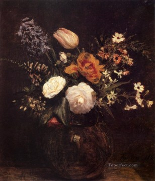 flower flowers floral Painting - Ignace Henri Flowers painter Henri Fantin Latour floral