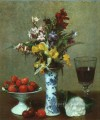 Still Life The Engagement 1869 painter Henri Fantin Latour floral
