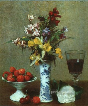 Classical Painting - Still Life The Engagement 1869 painter Henri Fantin Latour floral