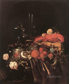 flower flowers floral Painting - Still Life With Fruit Flowers Glasses And Lobster Jan Davidsz de Heem floral