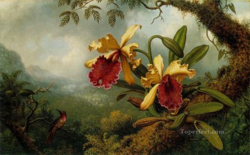Orchids and Hummingbird ATC Martin Johnson Heade floral Oil Paintings
