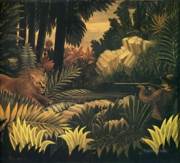 lion hunting Henri Rousseau hunting Oil Paintings