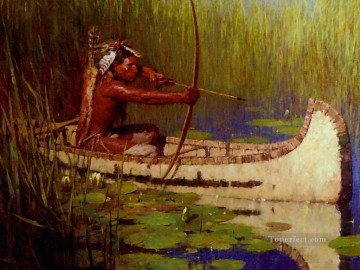 Hunting Painting - Native American Indian Hunter in Canoe Bow and Arrow