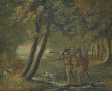 Classical Painting - Wooded landscape with sportsmen shooting Philip Reinagle hunting