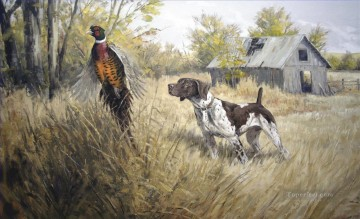hunt dog and mallard Oil Paintings