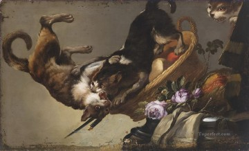Frans Snyders workshop Kampfende Katzen cynegetics Oil Paintings