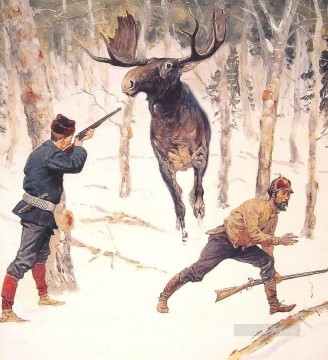 Remington Painting - Remington The Moose Hunt
