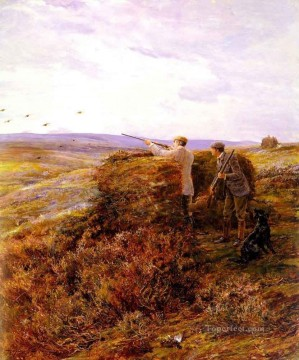 Classical Painting - The Grouse Shoot Heywood Hardy hunting