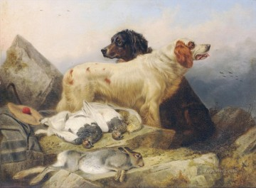 Two Sporting Dogs with Dead Game cynegetics Oil Paintings