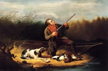 Hunting Painting - William Tylee Ranney xx Wild Duck Shooting On the Wing cynegetic