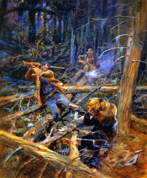 a wounded grizzly 1906 Charles Marion Russell hunting Oil Paintings
