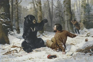 bear and hunters Oil Paintings