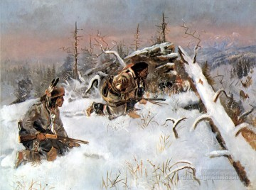 crow indians hunting elk Oil Paintings