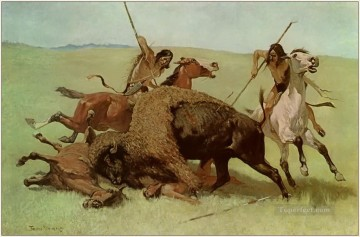 Hunting Painting - indians The Buffalo Hunt 1890