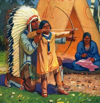 Hunting Painting - native american man teaching son to use bow and arrow Indian courser