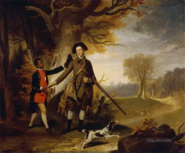Hunting Painting - the third duke of richmond out shooting with his servant 1765 cynegetic