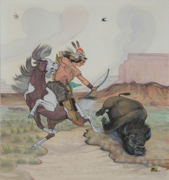 Hunting Painting - western American Indians 46