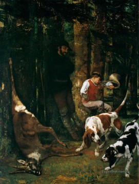 Hunting Painting - COURBET Gustave The Quarry La Curee classical hunting