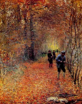 Hunting Painting - Hunting in woods