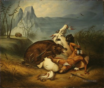Hunting Painting - Indian Bear Fight cynegetics